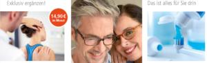 """Collage aus drei Bildern, Mann hält den Kopf seiner Patientin, Mann und Frau mit Brille, Zahnpasta als Methapher für den Satz """"Da ist alles für Sie drin"""", 14,90 Euro im Monat"""