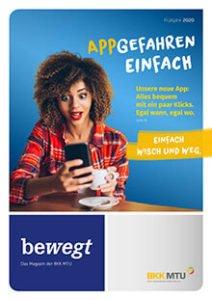bewegt-Magazin Cover: Frau mit Smartphone
