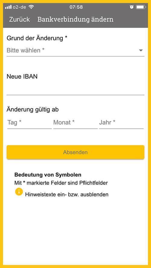 Screenshot vom App-Bereich Persönlichen Daten ändern