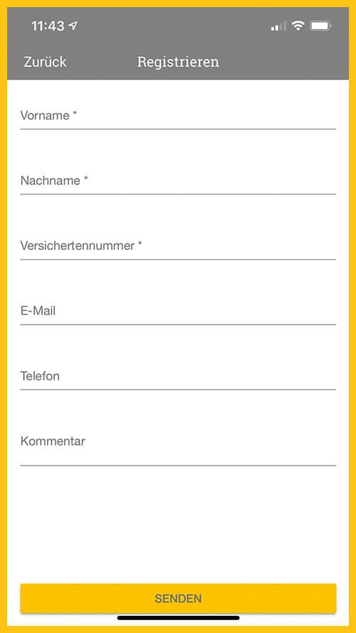 Screenshot vom Registrierungsvorgang